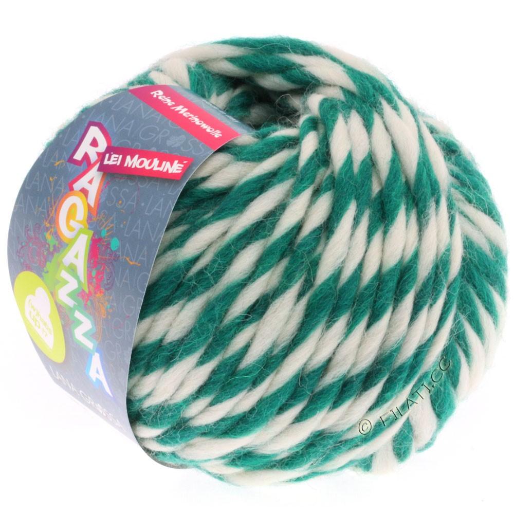 Lana Grossa LEI Moulinè/Color Mix/Spray (Ragazza) | 654-donker groen/ruwe witte