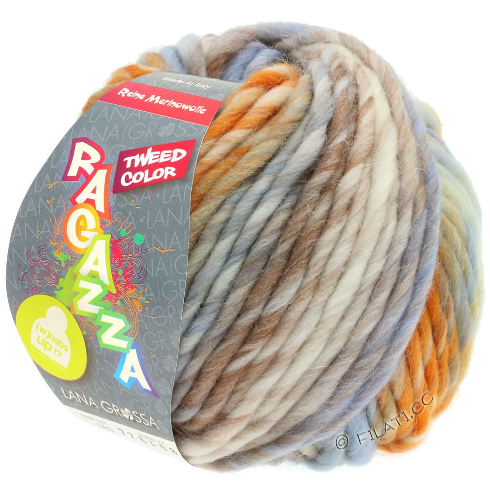 Lana Grossa LEI Tweed Color (Ragazza) | 404-natuur/licht blauw/bruin/oranje gemêleerd