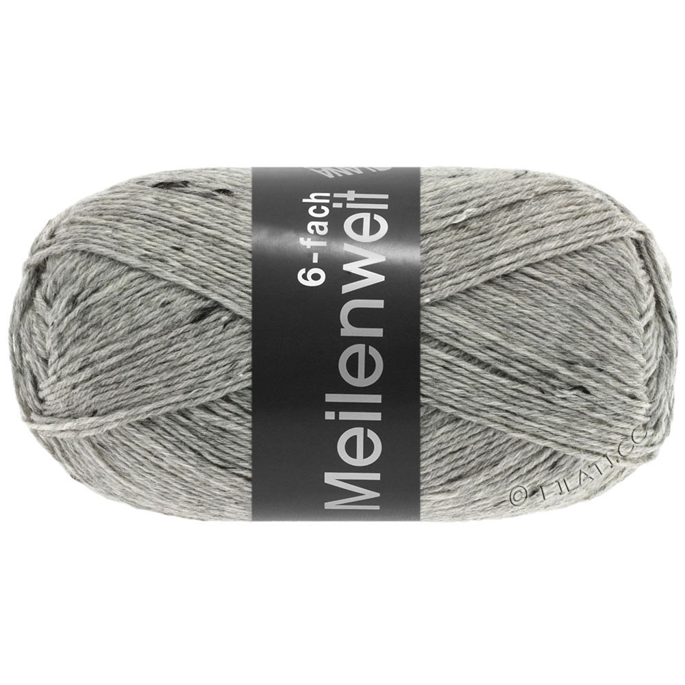 Lana Grossa MEILENWEIT 6-FACH 150g Print/Tweed | 8972-licht grijs gemêleerd