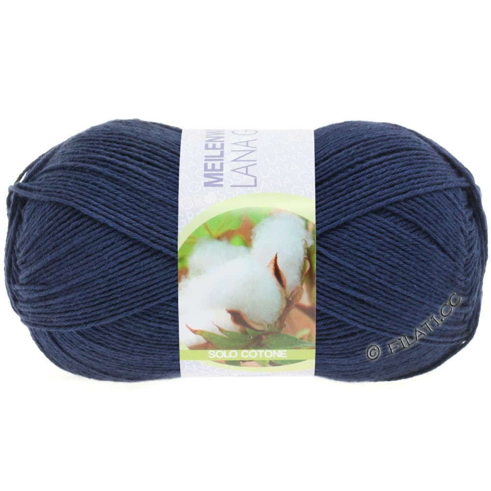 Lana Grossa MEILENWEIT 100g Solo Cotone  Unito | 3458-donker blauw