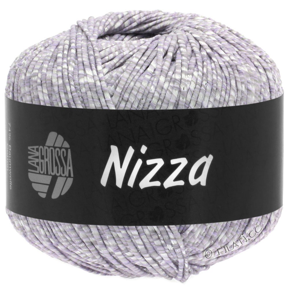Lana Grossa NIZZA | 02-wit/zachtpaars/zilver