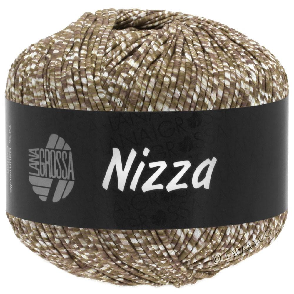 Lana Grossa NIZZA | 10-wit/grijs bruin/goud