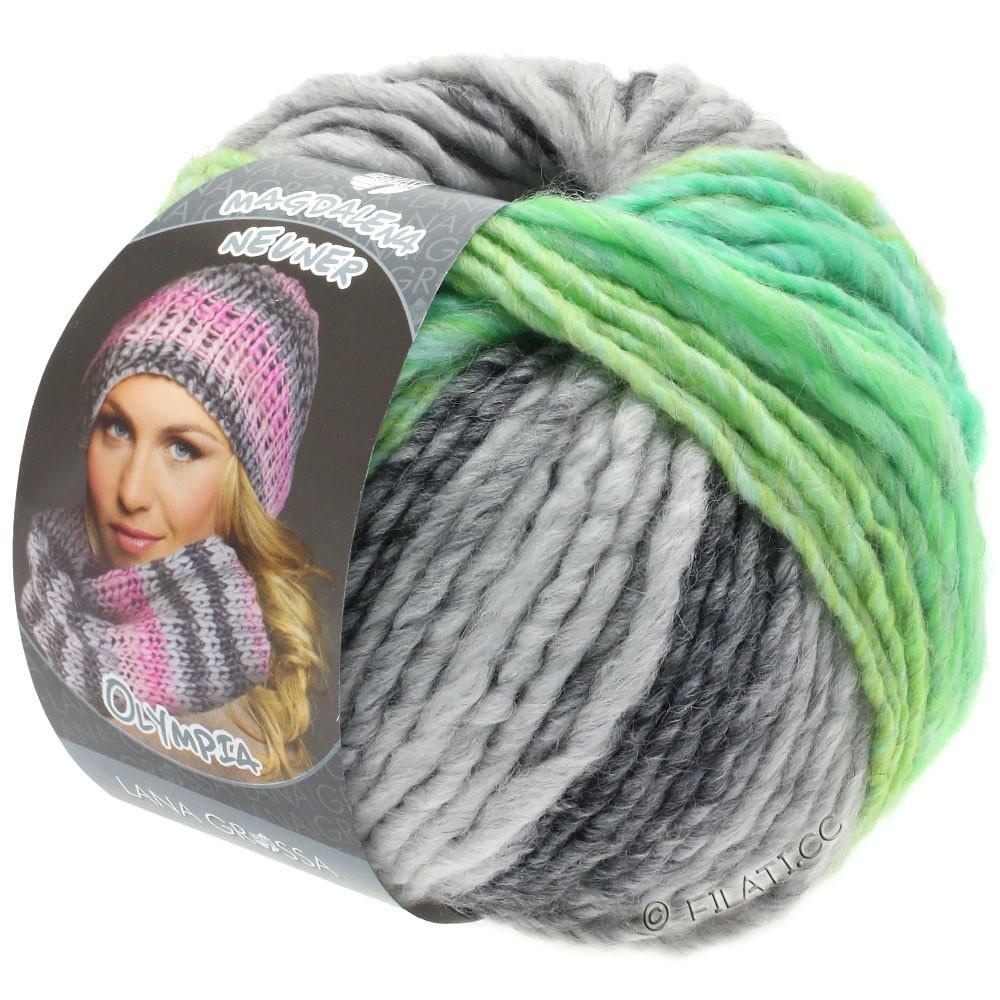 Lana Grossa OLYMPIA Grey | 803-donker grijs/licht grijs/geelgroen/jade groen