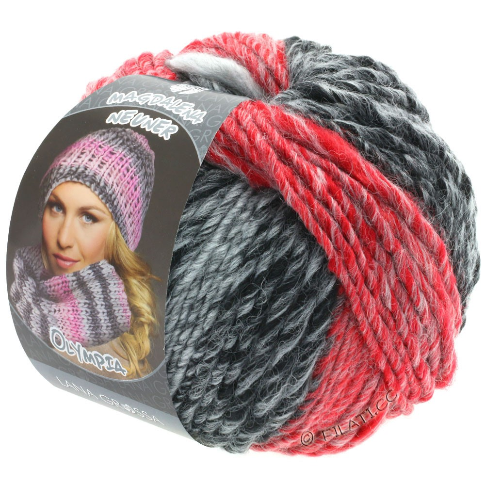 Lana Grossa OLYMPIA Grey | 807-antraciet/donker grijs/licht grijs/rood/donker rood
