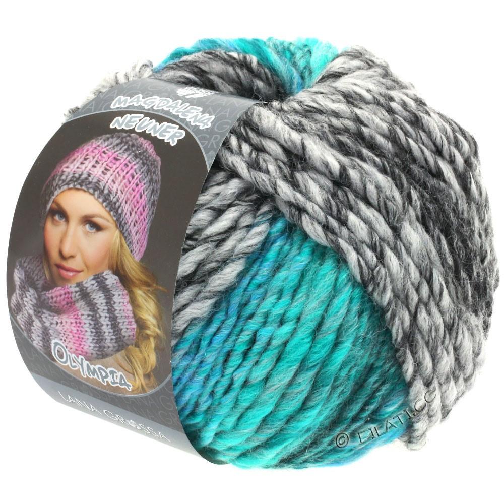 Lana Grossa OLYMPIA Grey | 808-antraciet/donker grijs/licht grijs/turkoois groen/turkoois blauw