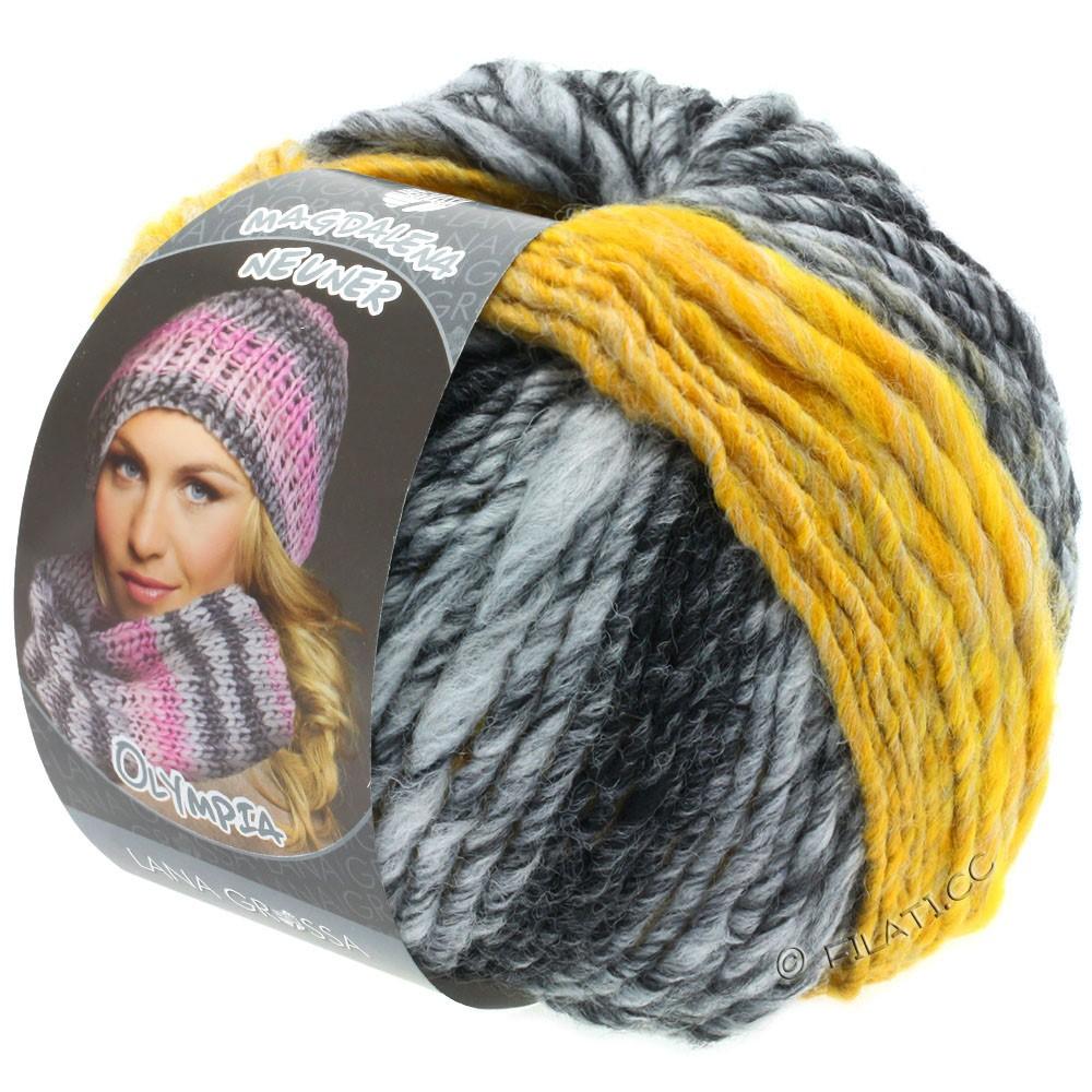 Lana Grossa OLYMPIA Grey | 810-antraciet/donker grijs/licht grijs/geel gemêleerd