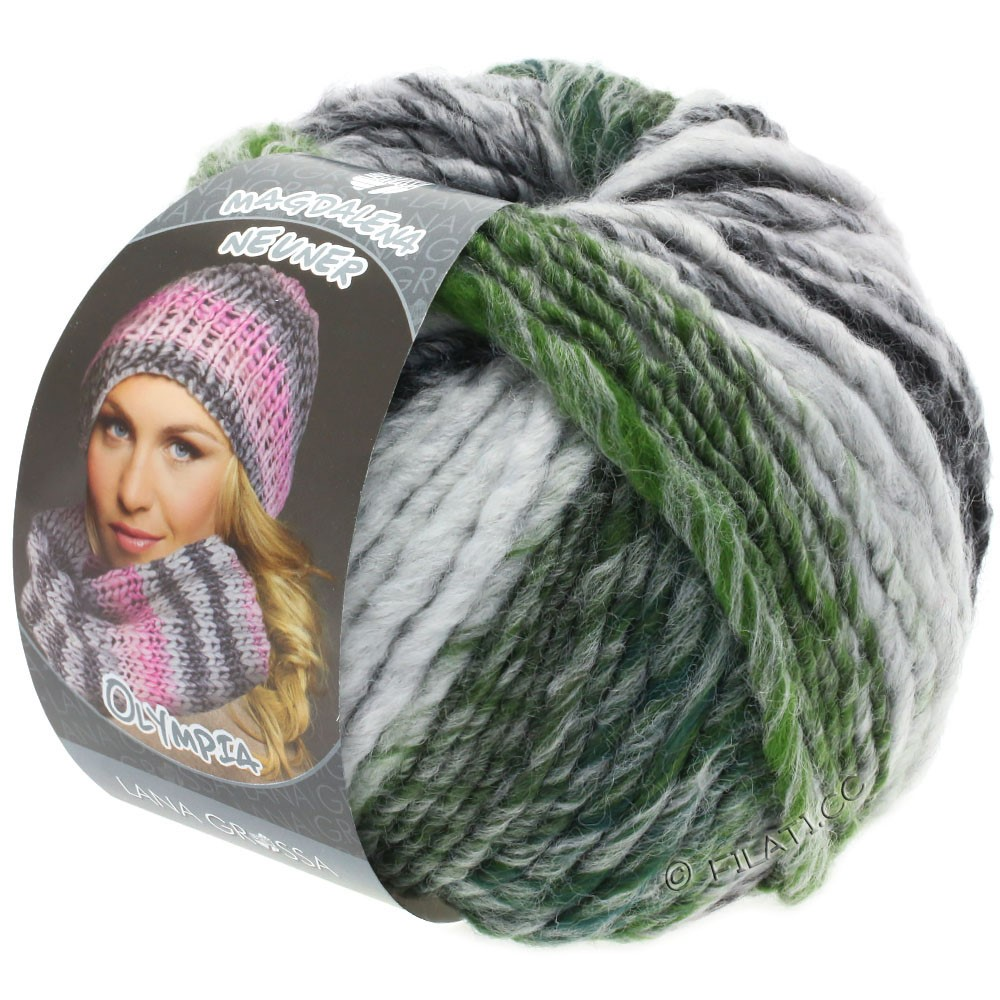 Lana Grossa OLYMPIA Grey | 811-antraciet/donker grijs/licht grijs/mosgroen gemêleerd