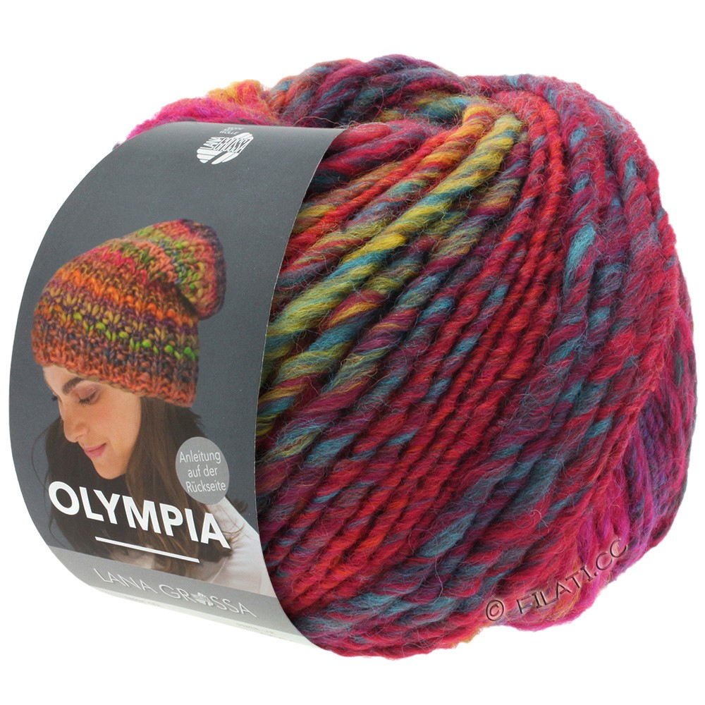 Lana Grossa OLYMPIA Classic | 062-rood/blauw/petrol/licht groen/donker rood