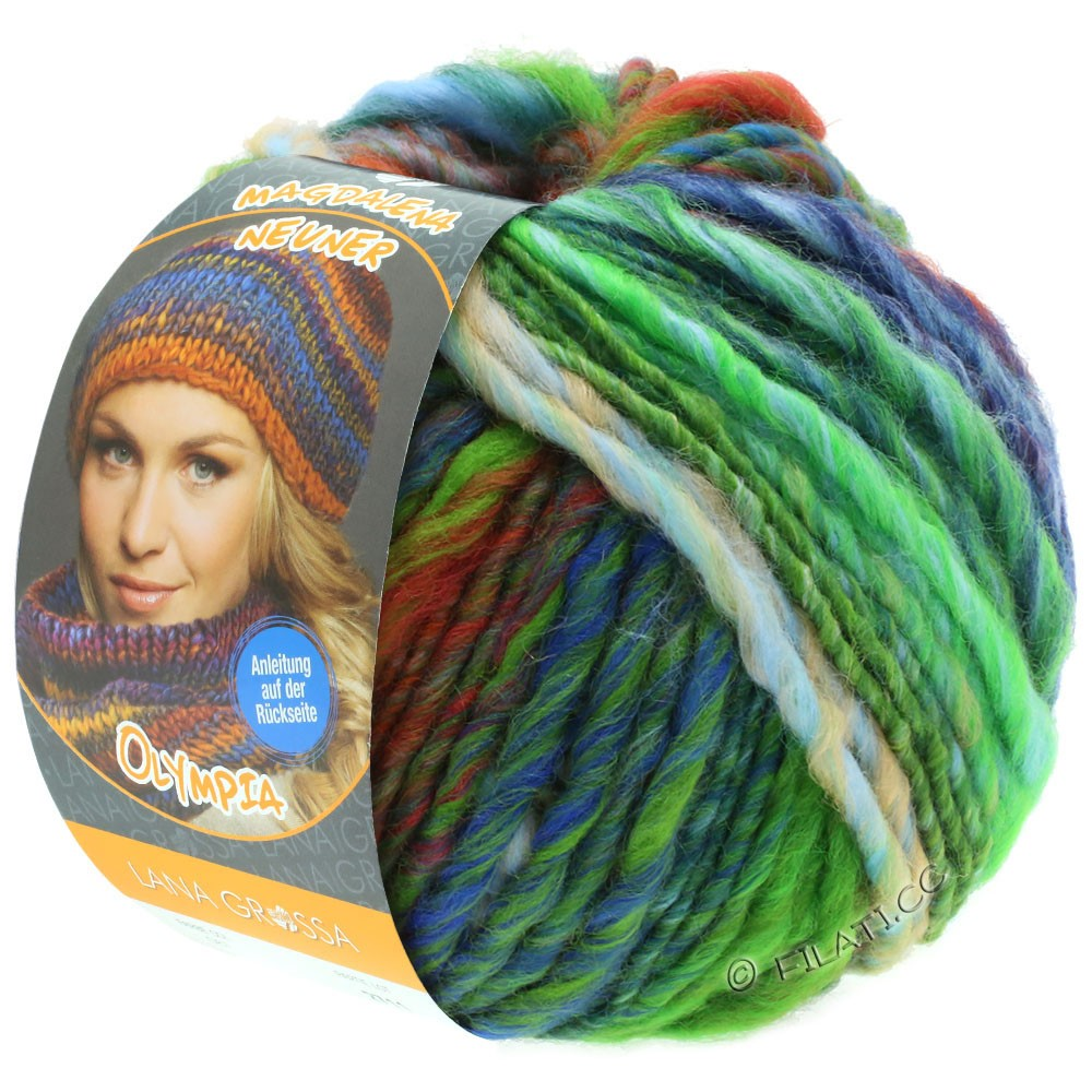 Lana Grossa OLYMPIA Classic | 063-licht groen/grijs groen/oranje/kaki/rood