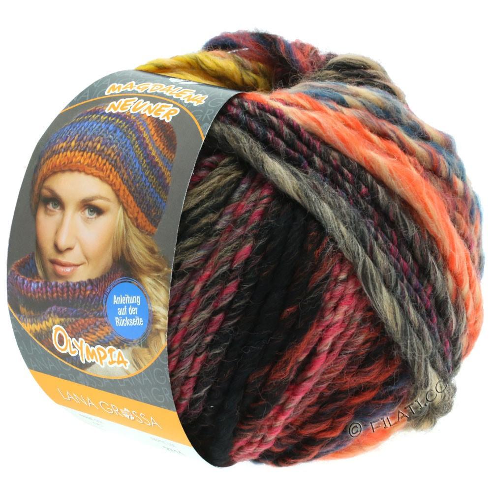 Lana Grossa OLYMPIA Classic | 064-geel/kaki/donker bruin/petrol/felroze/beige/rood/oranje