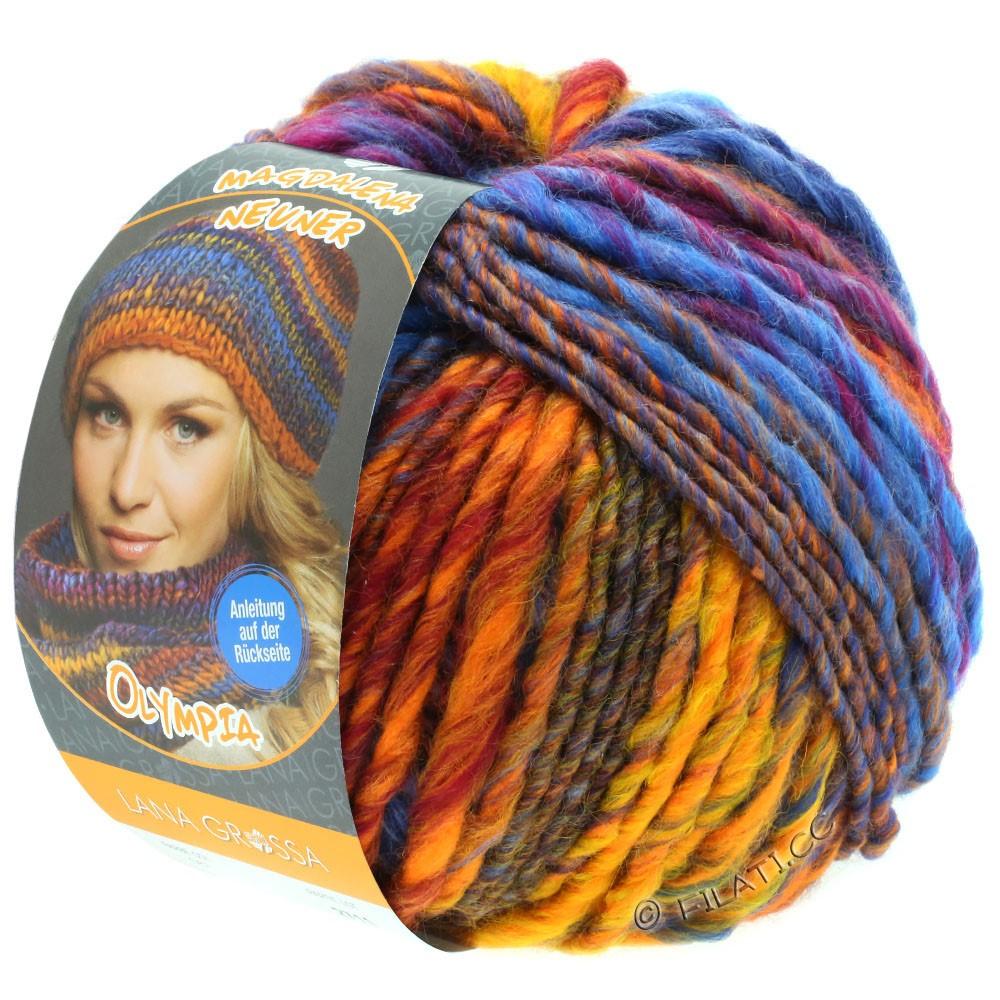 Lana Grossa OLYMPIA Classic | 068-oranje/petrol blauw/rood/cognac/cyclaam/goudgeel