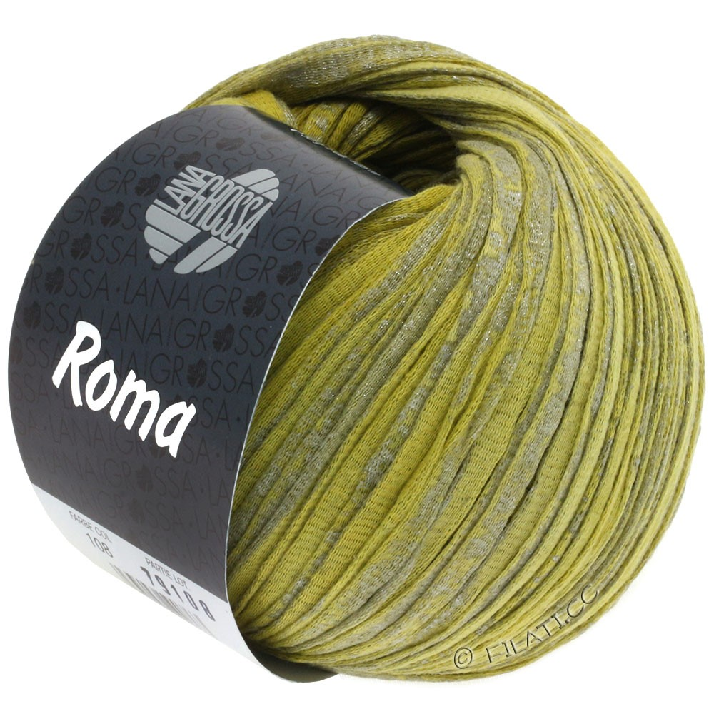 Lana Grossa ROMA   108-limoen/mosterdgeel/zilver