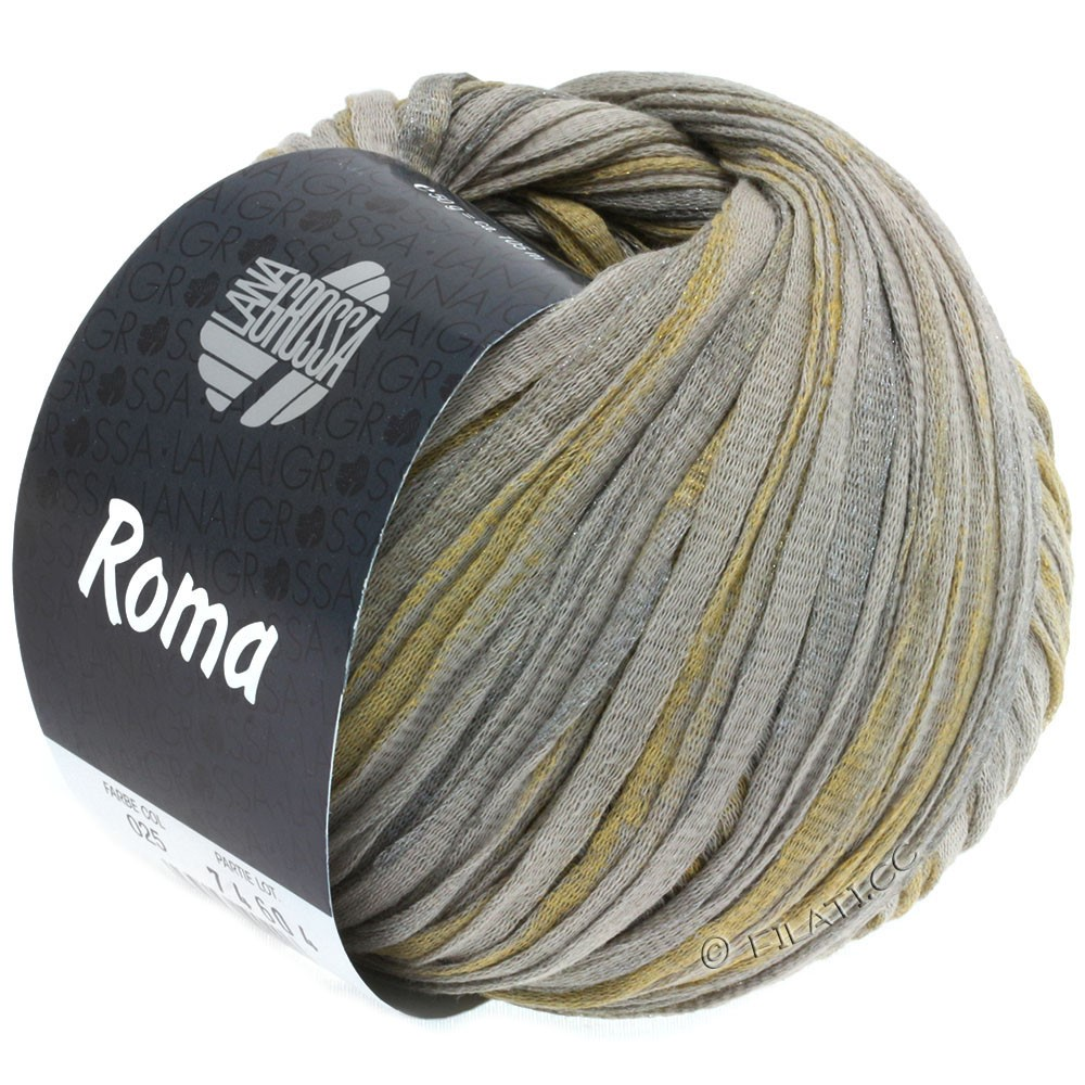 Lana Grossa ROMA   025-beige/zilver/goud
