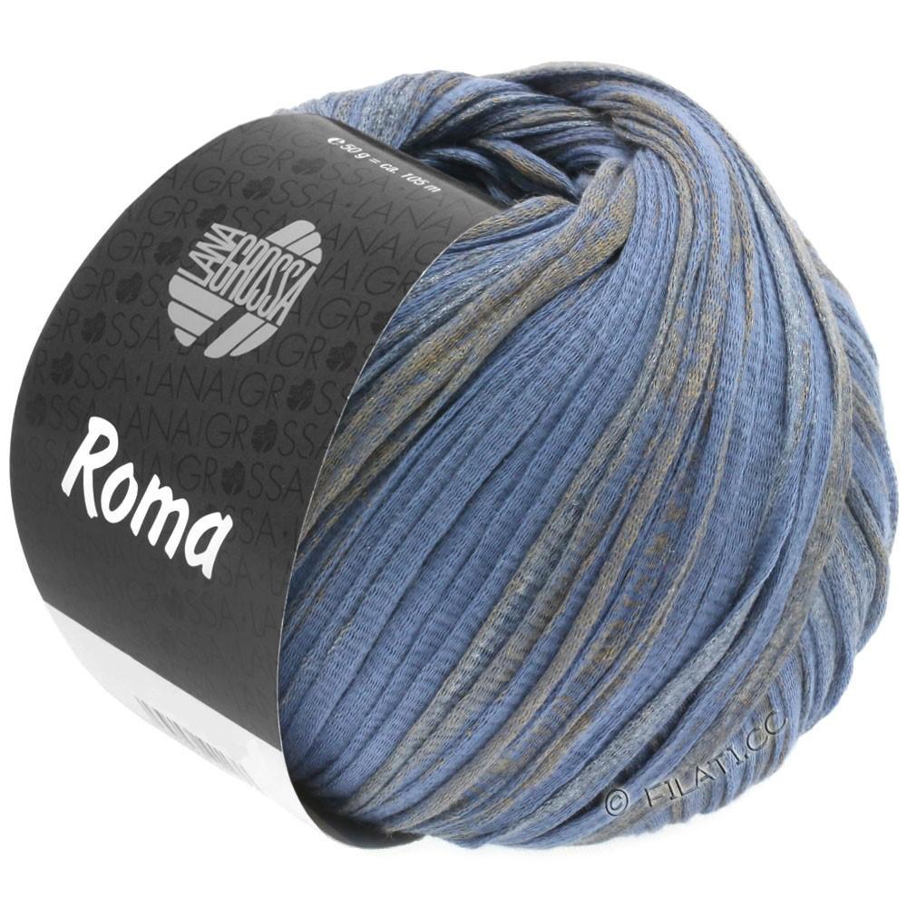 Lana Grossa ROMA   032-shiner blauw/goud/zilver