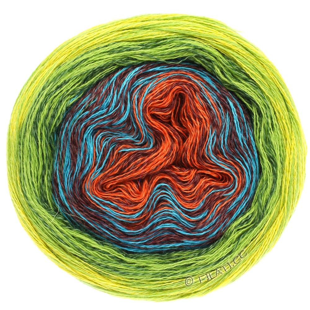 Lana Grossa SHADES OF MERINO COTTON | 602-roest/roodbruin/turkoois/donker groen/licht groen/geel