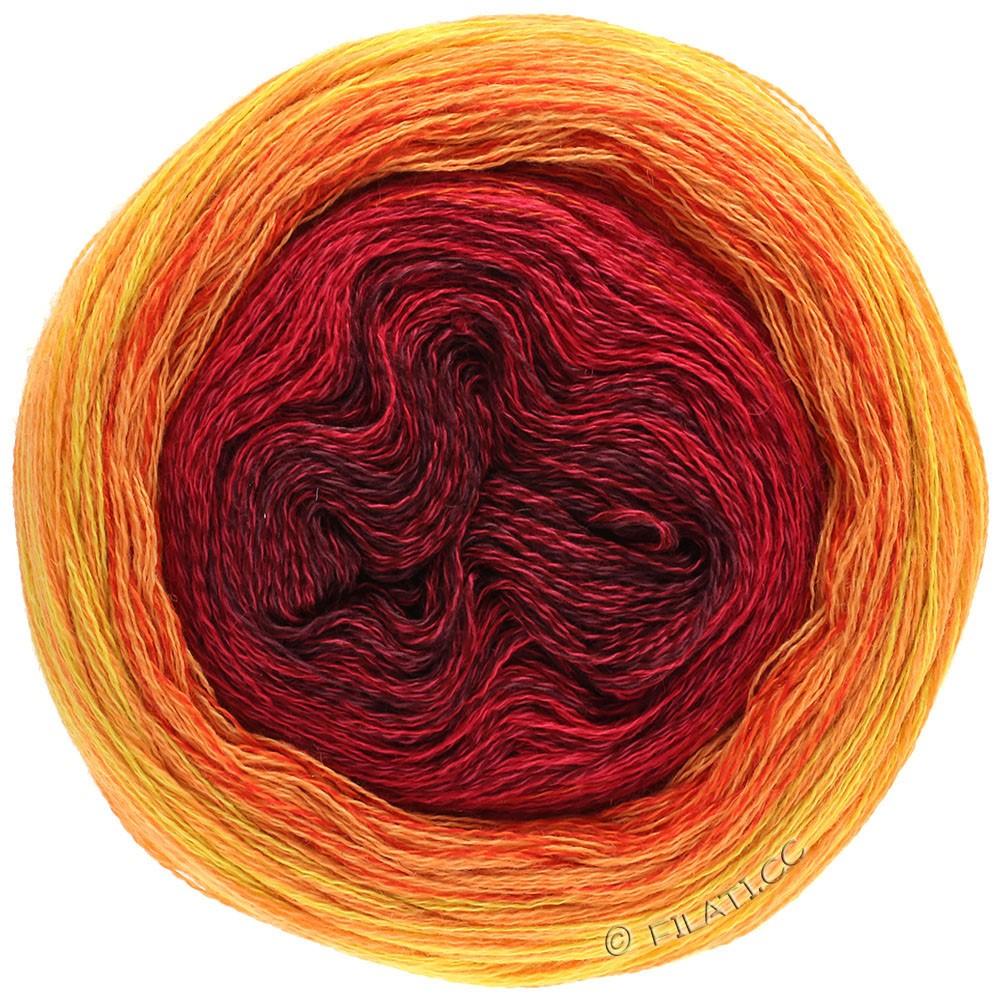 Lana Grossa SHADES OF MERINO COTTON | 603-bordeaux/kersenrood/rood/roodoranje/licht oranje/geel