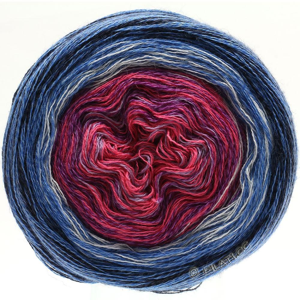 Lana Grossa SHADES OF MERINO COTTON | 604-sering felroze/violet/wit/midden blauw/blauw/zwart