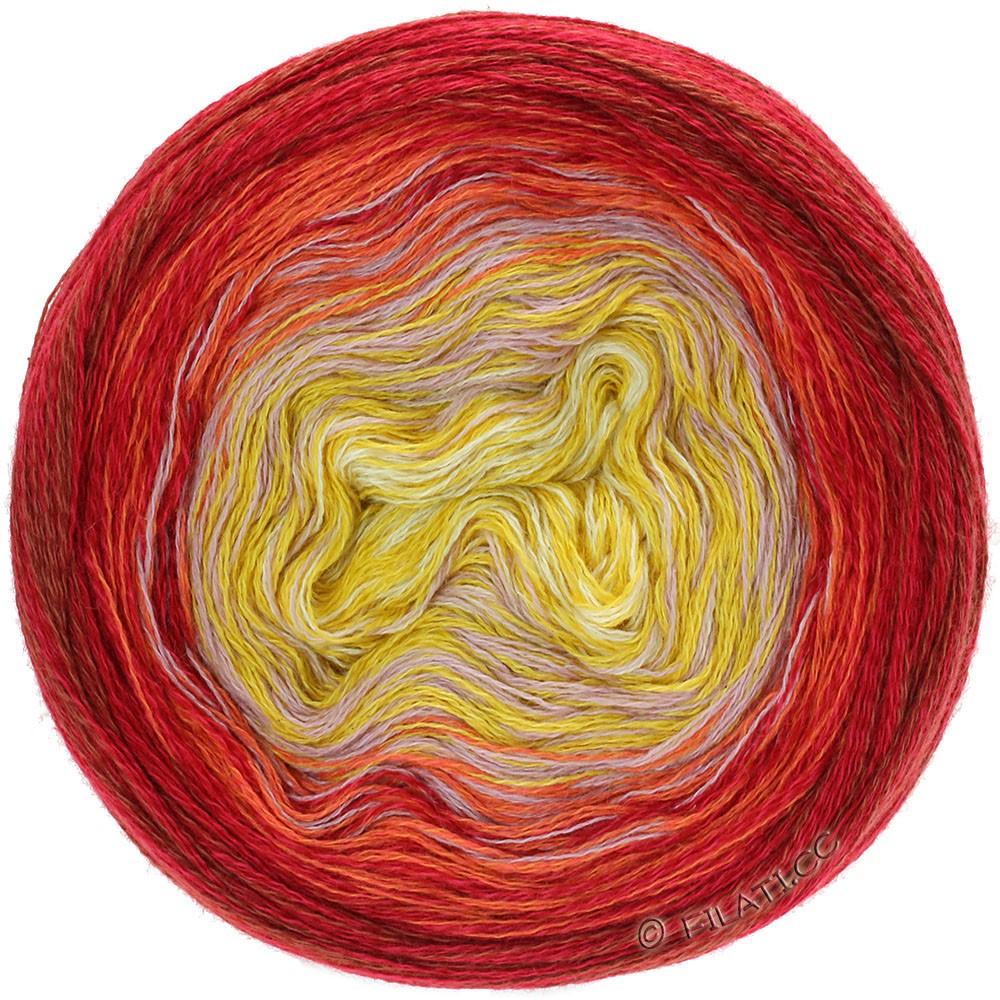 Lana Grossa SHADES OF MERINO COTTON | 607-vanille/maïsgeel/oudroze/oranje/rood