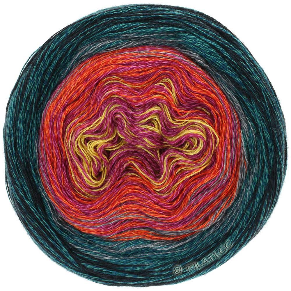 Lana Grossa SHADES OF MERINO COTTON | 608-geel/felroze/tomaatrood/staalblauw/zwart