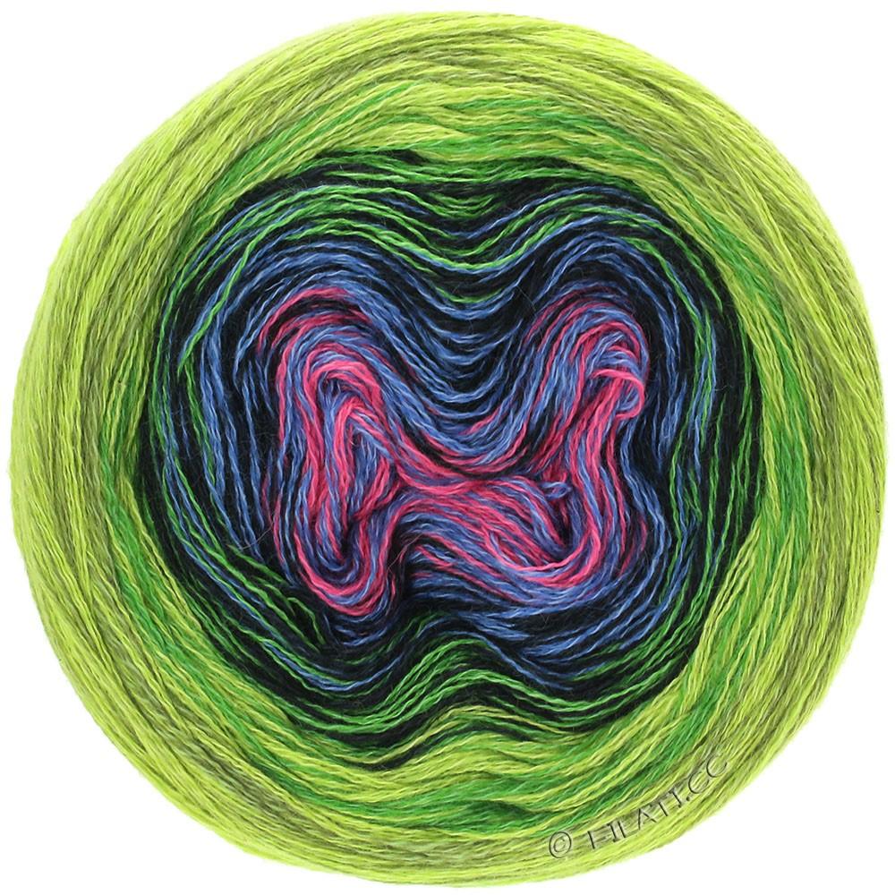 Lana Grossa SHADES OF MERINO COTTON | 610-felroze/jeans/zwart/bladgroen/licht groen