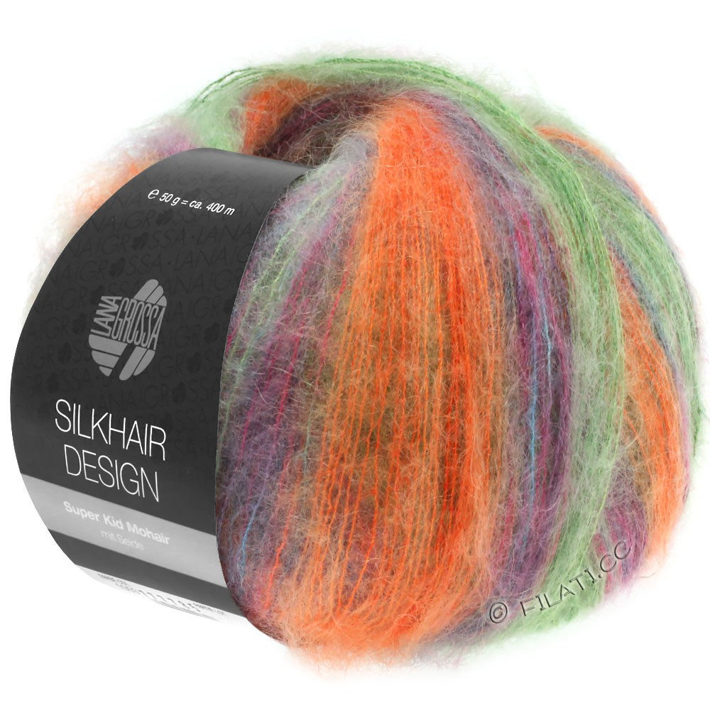 Lana Grossa SILKHAIR Design | 1005-groen/oranje/petrol/cyclaam/braam