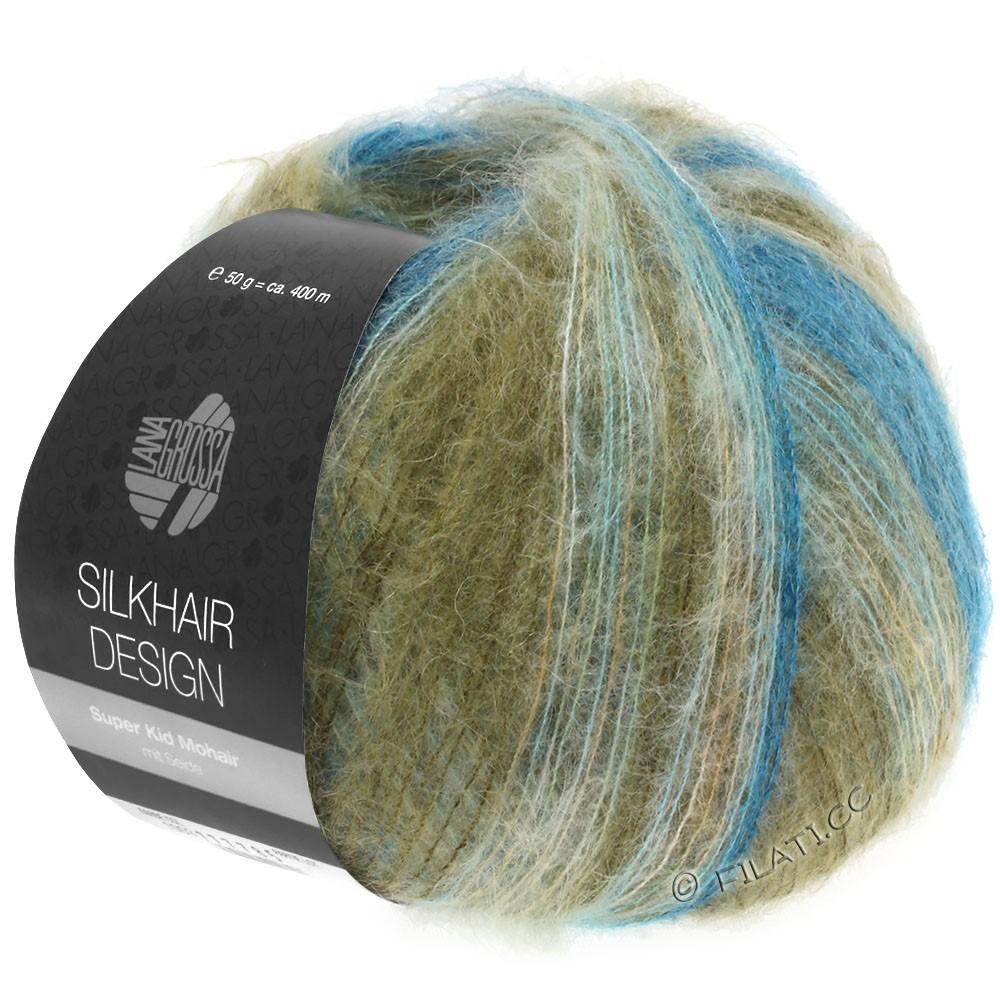 Lana Grossa SILKHAIR Design | 1006-petrol/blauw turkoois/kaki/natuur/kameel