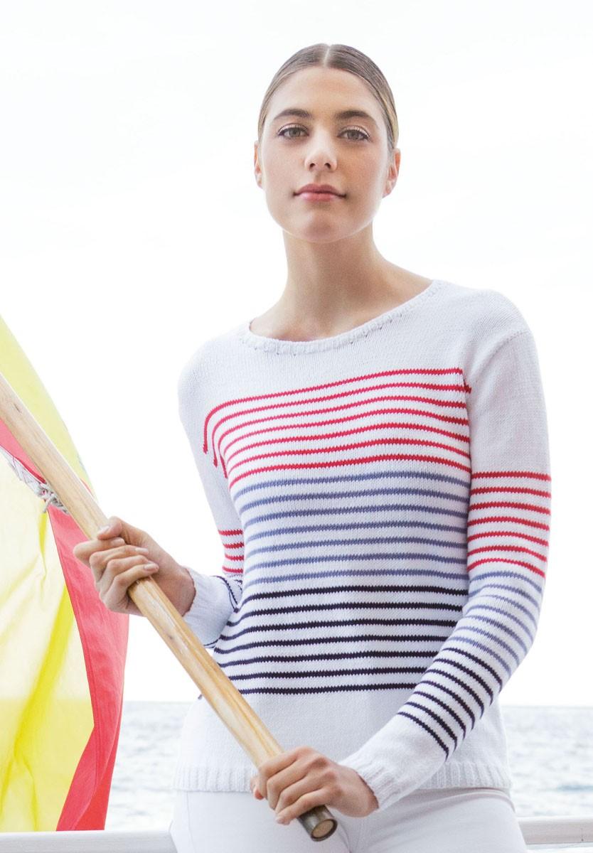 Lana Grossa GESTREEPTE TRUI IN TRICOTSTEEK Summer Lace