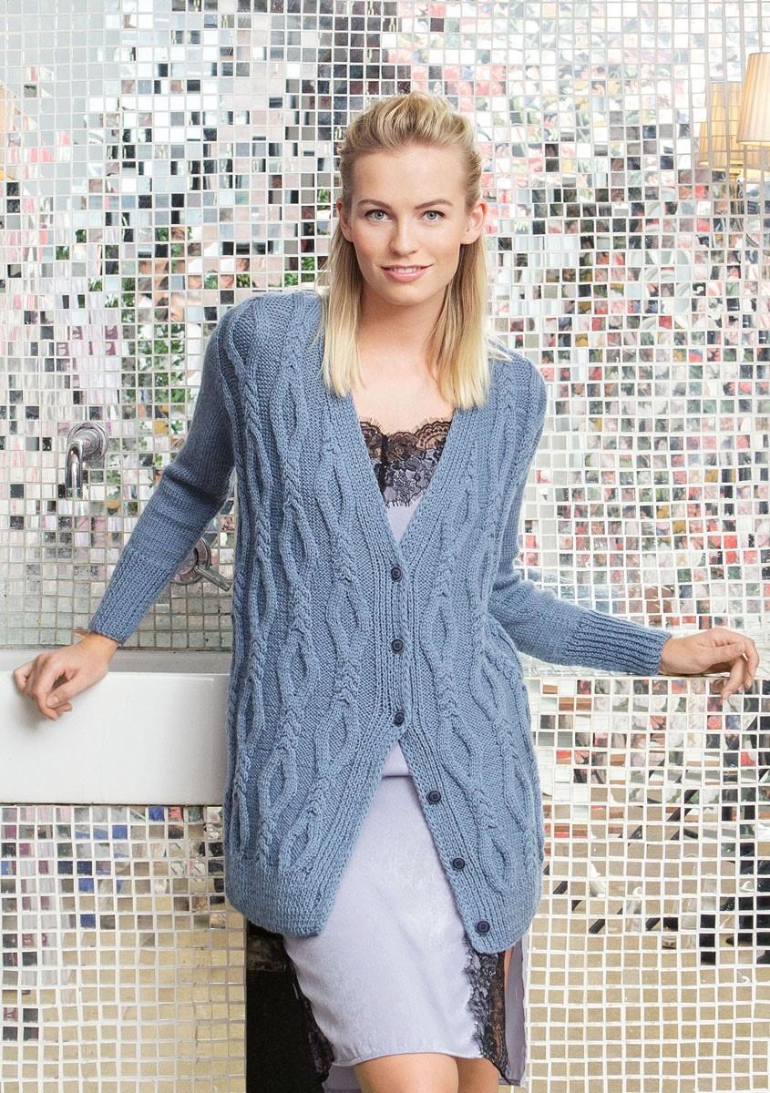 Lana Grossa VEST MET KABEL-RUITENPATROON EN TRICOTSTEEK Cool Wool Alpaca