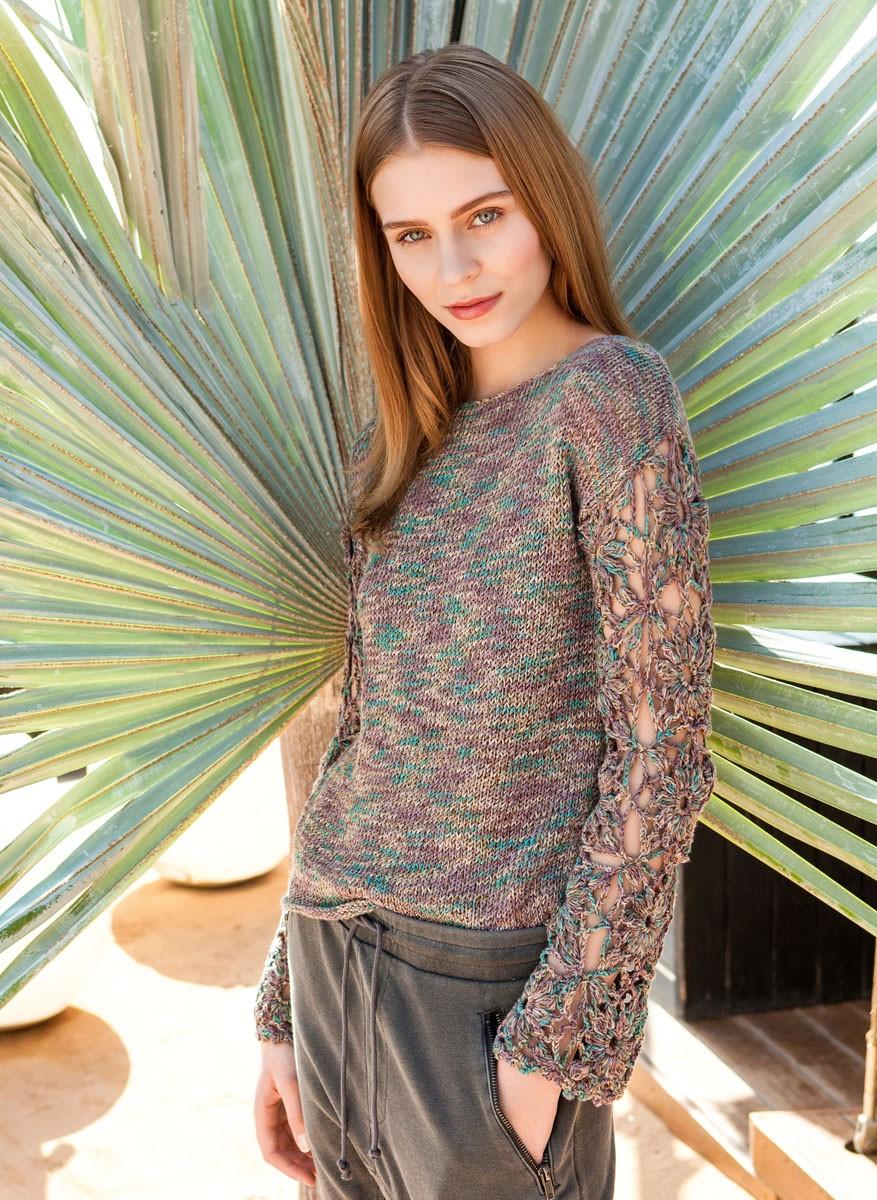 Lana Grossa TRUI IN TRICOTSTEEK MET GEHAAKTE MOUWEN Portofino Color