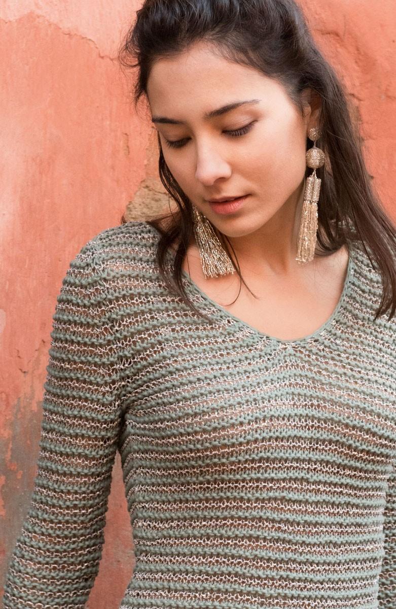 Lana Grossa TRUI INRIBBELPATROON MET STREPEN Only Cotton/Nizza