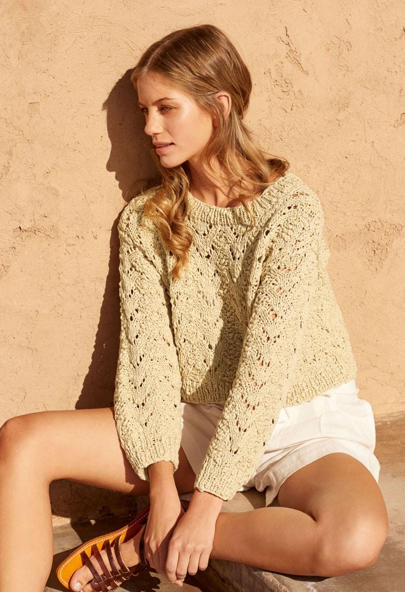 Lana Grossa KORTE TRUI IN AJOURPATROON Cotton Style