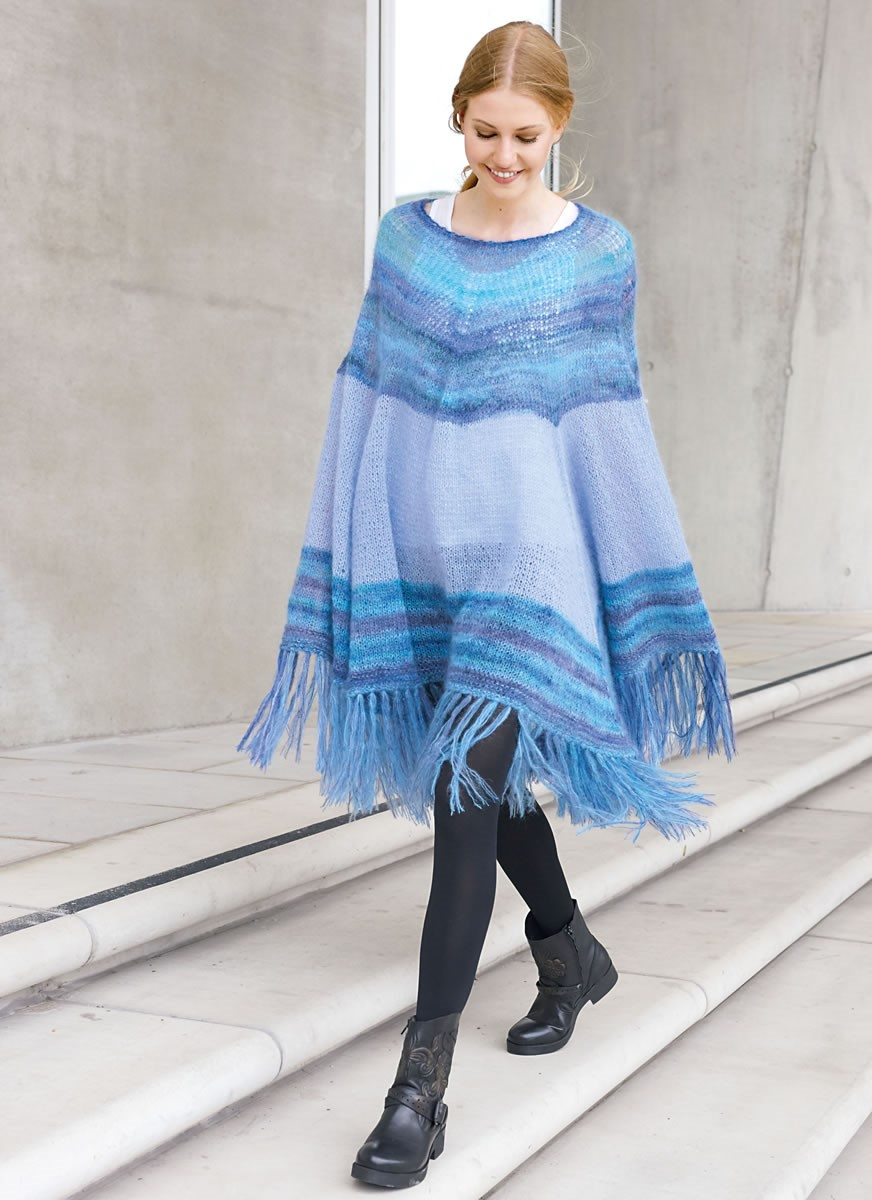 Lana Grossa PONCHO IN ETNO-LOOK Silkhair/Silkhair Print