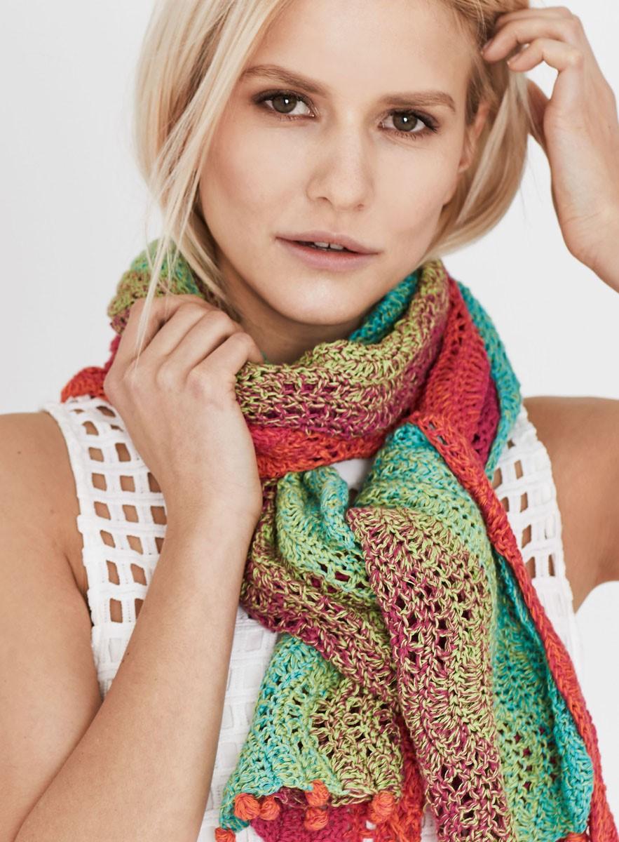 Lana Grossa SMALLE SJAAL IN GOLFPATROON Shades of Cotton