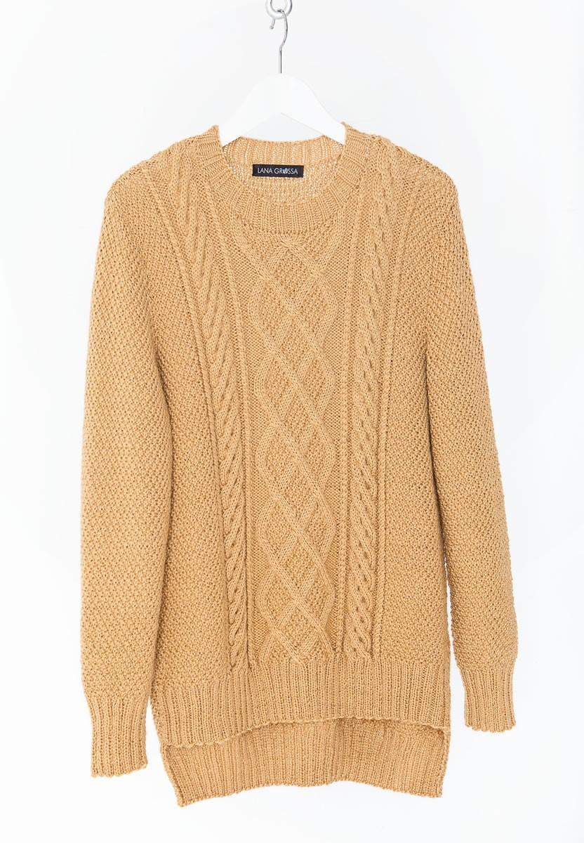 Lana Grossa TRUI IN GERSTEKORREL MET ARANPATROON IN HET VOORPAND Cool Wool Alpaca